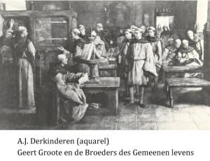 www.heiligen-3s.nl/heiligen/08/20/08-20-1384-Geert-Groote.php +++ 1885. Schilderij door A.J. Derkinderen Nederland, Deventer? Onderschrift: Geert Groote en de broeders des gemeenen levens.
