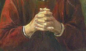 gevouwen handen.laat ons bidden